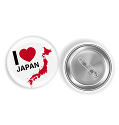 i love japan round brooch pin front and back vector image