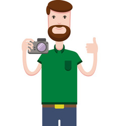 image of man with a camera vector image