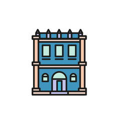 Isolated blue color low-rise municipal house in vector