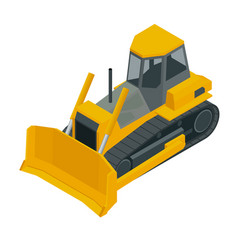 Isometric yellow bulldozer excavator isolated on vector