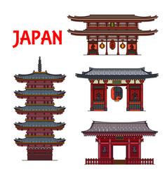 japanese travel landmarks famous buildings vector image