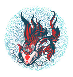 Koi carp hand drawn tattoo vector