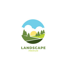 landscape logo design vector image