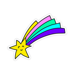Little funny shooting star sticker vector