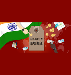 made in india price tag badge export vector image