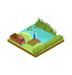 Man fishing in lake isometric 3d element vector