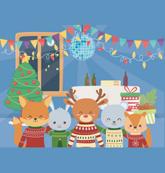 merry christmas celebration cute animals party vector image
