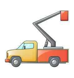 Mini truck crane icon cartoon style vector