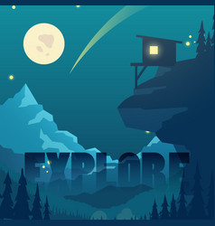 night flat mountain landscape with moon vector image