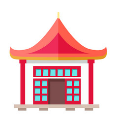 Oriental type building with triangular roof vector