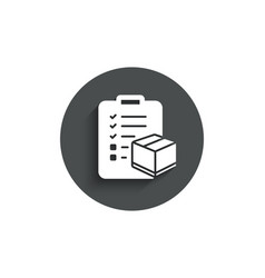 Parcel checklist simple icon logistics check vector