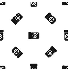 photo camera pattern seamless black vector image