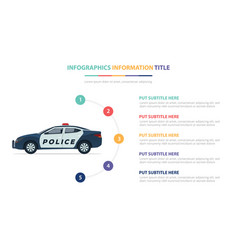 Police car infographic template concept with five vector