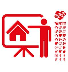 realtor icon with dating bonus vector image