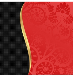 Red and black floral background vector