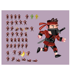 Red ninja flat cartoon game character sprite vector
