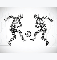 Robot playing soccer vector