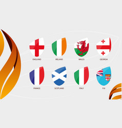 Rugby autumn nations cup 2020 flags all vector
