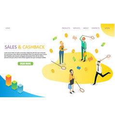 Sales and cashback landing page website vector