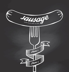 Sausage menu doodle drawn on chalkboard background vector image