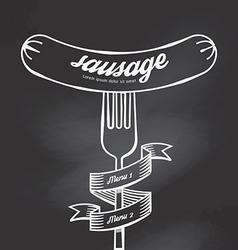Sausage menu doodle drawn on chalkboard background vector