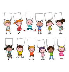 Set hand drawn cartoon kids holding blank sign vector
