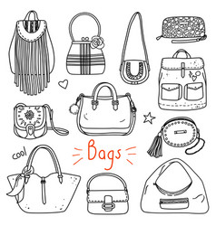set of hand drawn women accessories bags vector image