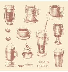 Set of sketches of cups of coffee and tea vector