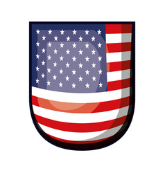 Shield with flag united states of america colorful vector