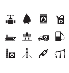 Silhouette oil and petrol industry objects icons vector image