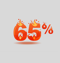 Sixty five percent discount numbers on fire vector