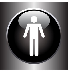 Standing human icon on black button vector image