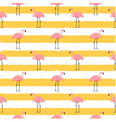 summer pink flamingo seamless pattern background vector image