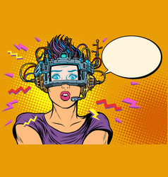 surprised woman in vr glasses vector image