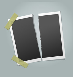 torn instant photo frame vector image