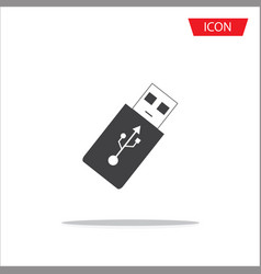 usb flash icon flash drive icon on white vector image