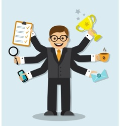 very busy businessman vector image