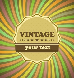 Vintage label on sunrays background vector