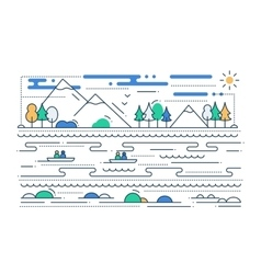 Water Tourism - line flat design vector