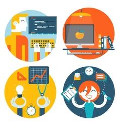 Web studio workplace concept internet page vector