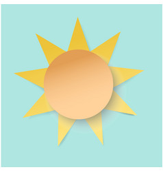 white paper cut sun 3d paper art style weather vector image