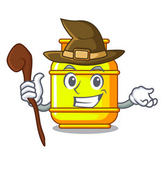 Witch creative in gas cartoon tank container vector