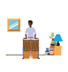 Young man with congas in living room vector