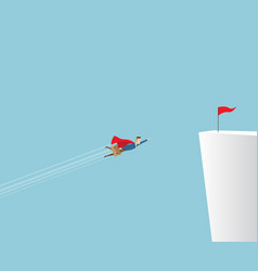 businessman flying to red flag on cliff vector image vector image
