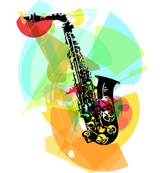colorful saxophone vector image vector image
