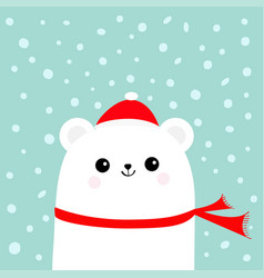polar white little small bear cub wearing hat and vector image vector image
