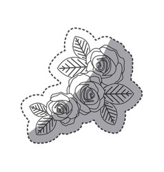 silhouette oval roses with leaves icon vector image vector image