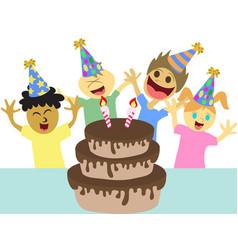 cartoon kids happy birthday party vector image vector image