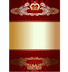 golden ornament on red background vector image