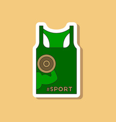 paper sticker on stylish background sports shirt vector image vector image